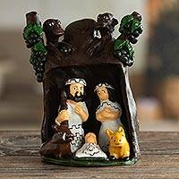 Ceramic nativity scene, 'Rain Forest Christmas' - Collectible Nativity Scene Ceramic Sculpture