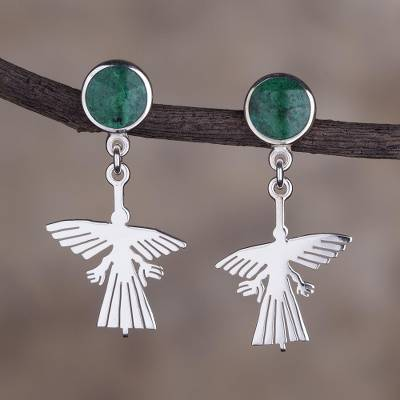 Chrysocolla earrings, 'Hummingbirds' - Sterling Silver and Chrysocolla Dangle Earrings