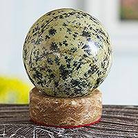 Nephrite sphere, 'Jade Mystique' - Green Nephrite Sphere Sculpture with Calcite Base