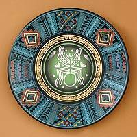Cuzco plate, 'Ancient Spider' - Hand Painted Cuzco Decorative Plate