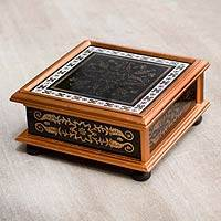 Reverse painted glass box, 'Colonial Black' - Reverse Painted Glass Gilded Colonial Decorative Box