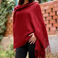 100% alpaca shawl, 'Fire' - Hand Crafted Alpaca Wool Wrap Shawl in Red