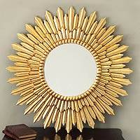 Mohena mirror, 'Sunbeams' - Gilded Bronze Leaf on Fine Mohena Wood Mirror