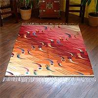 Wool rug, 'Sunset Toucans' (4x5) - Handwoven Wool Area Rug Bird Carpet (4x5)
