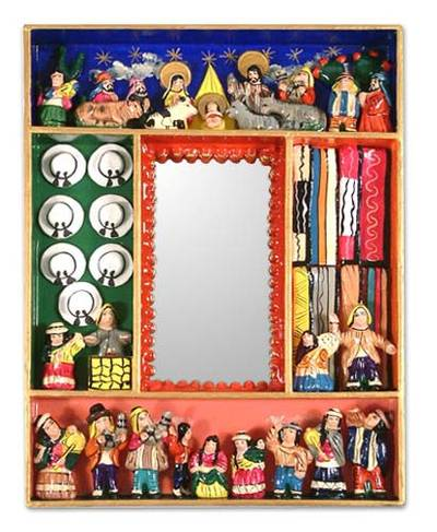 Hand Made Religious Nativity Folk Art Mirror