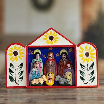 Nativity scene, 'Caring for Baby Jesus' - Hand Crafted Christmas Nativity Scene Sculpture