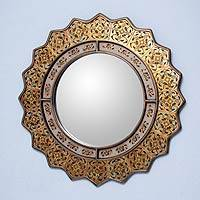 Reverse painted glass mirror, 'Marigold' - Fair Trade Reverse Painted Glass Oval Wall Mirror