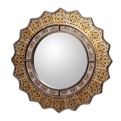 Mirror, 'Marigold' - Fair Trade Reverse Painted Glass Oval Wall Mirror