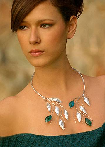 Collectible Sterling Silver Floral Chrysocolla Wrap Necklace