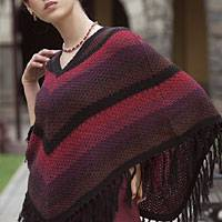 Alpaca poncho, 'Morning Sunrise' - Alpaca Striped Poncho from Peru