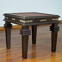 Leather and cedar accent table, 'Cumbres, Country Collection'  - Leather and cedar accent table