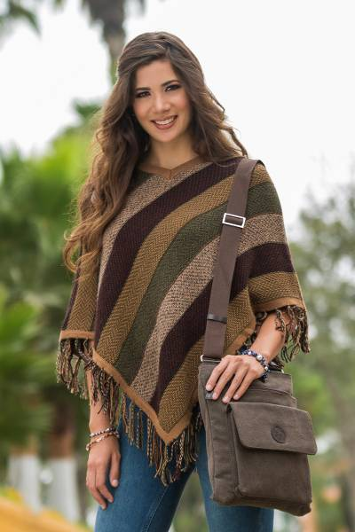 Alpaca poncho, 'Earth Surprise'  - Handcrafted Peruvian Women's Alpaca Wool Poncho