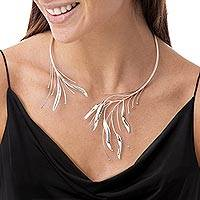 Silver wrap necklace, 'Foliage' - Fair Trade Fine Silver Collar Necklace