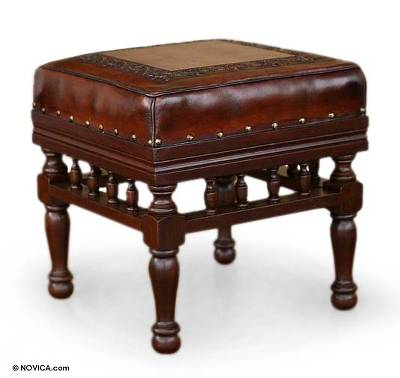 Leather and cedar ottoman, 'Inca Balcony' - Collectible Traditional Leather Wood Ottoman Furniture
