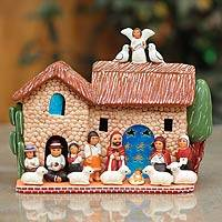Ceramic nativity scene, 'A Wonderful Christmas' - Ceramic nativity scene