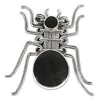 Onyx brooch pin pendant, 'Nazca Spider' - Onyx brooch pin pendant