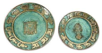 Copper plates, 'Inca Symbols' (pair) - Handcrafted Inca Copper and Bronze Decorative Wall Plates