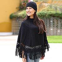 Alpaca blend poncho and hat, 'Black Coffee'