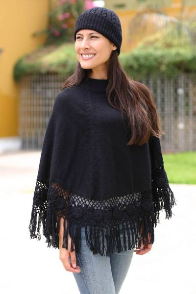Alpaca blend poncho and hat, 'Black Coffee' - Handmade Alpaca Blend Poncho and Hat Set