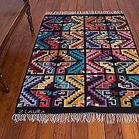 Wool rug, 'Andean Joy' (4x5.5) - Wool rug (4x5.5)