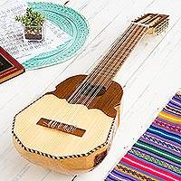 Wood ronroco guitar, 'Inca Sun' - Genuine Andean Ronroco Guitar with Case