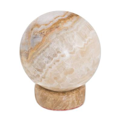 Calcite and jasper sphere, 'Inner Peace' - Hand Crafted Geometric Jasper Sphere Sculpture