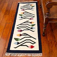 Wool runner, 'Spring Buds' (2x5.5) - Handcrafted Floral Wool Area Rug (2x5.5)