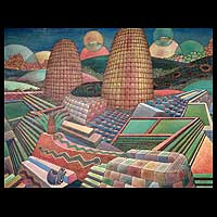 'Machu Picchu and Mother Earth' - Peruvian Landscape Cubist Painting