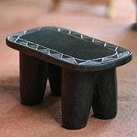 Wood throne stool, 'African Sun' - Wood Throne Stool