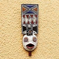 Ivoirian wood mask, 'Flying Spirit' - Unique Ivory Coast Wood Mask