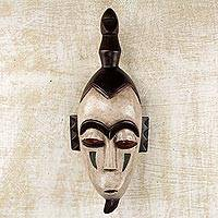 Ivoirian wood mask, 'Monkey Ghost' - Handcrafted Wood Wall Mask