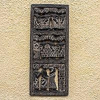 Wood relief panel,