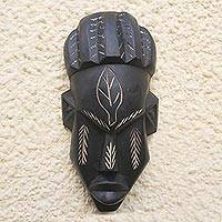 Ghanaian wood mask, 'Village Queen' - Handcrafted Ghanaian Wood Mask from Africa