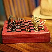 Leather and brass chess set, 'Tribal Feuds' - Handcrafted Wood Leather and Brass Chess Set