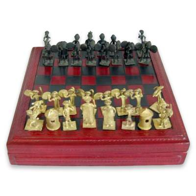 Handcrafted Wood Leather and Brass Chess Set