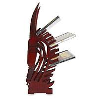 Wood CD rack, 'Bambara Antelope' - Wood CD rack