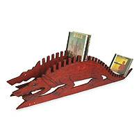 Wood CD rack, 'African Alligator' - Wood CD rack
