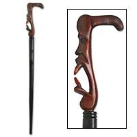 Wood walking stick, 'Jester' - Wood walking stick