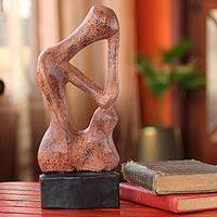 Wood sculpture, 'Stop and Think' - Hand Crafted Wood Sculpture