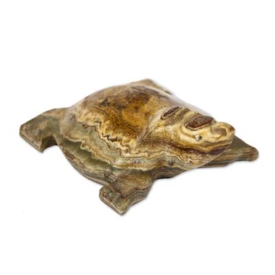 Fair Trade Brown Onyx Desert Tortoise Sculpture