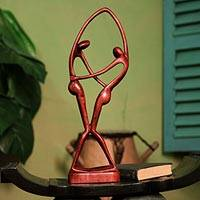 Cedar sculpture, 'Dancers in Brown' - Fair Trade Romantic Wood Sculpture