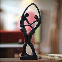 Mahogany sculpture, 'Dancers in Black' - Romantic Wood Sculpture