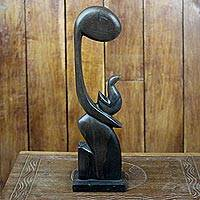 Ebony sculpture, 'Steadfast Love' - Hand Carved Wood Sculpture