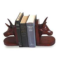 Cedar bookends, 'Cattle' (pair) - Cedar bookends (Pair)