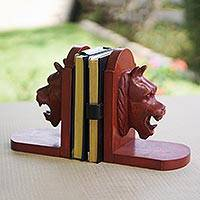 Cedar bookends, 'Lion Guardian' (pair) - Unique Hand Carved Wood Bookends (Pair)