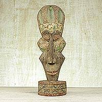 Akan wood mask, 'Big Head and Wise' - Akan wood mask