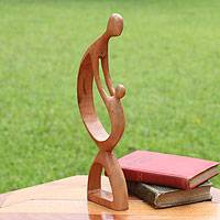 Cedar sculpture, 'Loving Family' - Hand Made Abstract Wood Sculpture