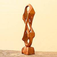 Cedar sculpture, 'Show Your Love' - Cedar sculpture