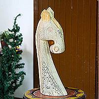Wood sculpture, 'Equine Character' - Hand Crafted Wood Horse Sculpture