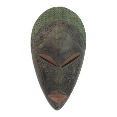 Handcrafted Wood and Brass Black and Green Mask from Ghana